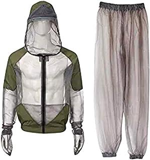 LIOOBO 蚊のスーツのバグジャケットメッシュフード付きスーツ蚊の釣り狩猟用忌避服(グレー、M)