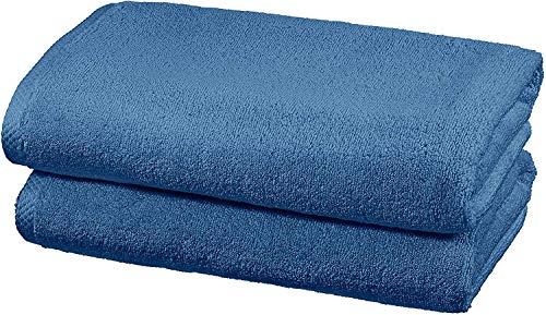 AmazonBasics - Handtuch-Set, schnelltrocknend, 2 Badetücher - Seeblau, 100 Prozent Baumwolle
