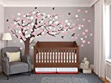 Large Plum Blossom Tree Wall Stickers with Birds Vinyl Mural Wall Decals for Children Baby Nursery Room Décor (Brown Tree Trunk White and Pink Flowers)