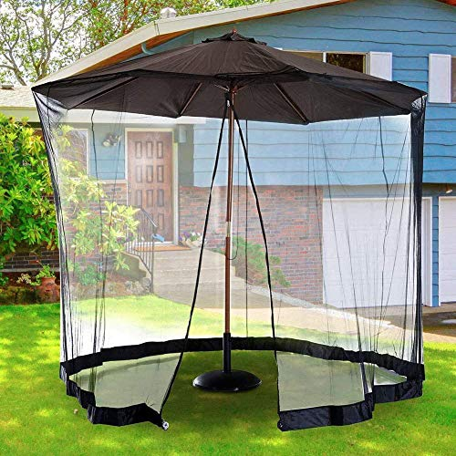 FGDSA 9-11ft Outdoor Garden Umbrella Table Screen,Patio Umbrella Mosquito Netting,- Polyester Mesh Screen with Zipper Opening and Water Tube at Base to Hold in Place - Helps Protect from Mosquitoes
