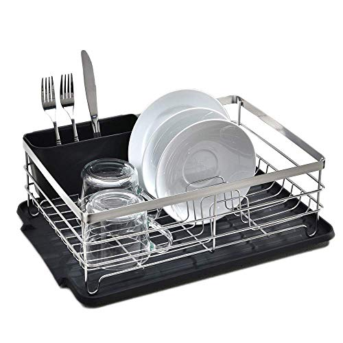 POPILION Quality Kitchen Sink Side Kitchen Counter Top Black Drainboard Draining Dish Drying RackDish Rack with Utensil Holder