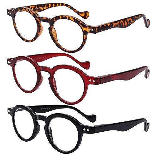AMILLET Gafas de lectura redondas retro para mujeres y hombres, lectores para hombres, acabado mate, cómodo y suave al tacto con lentes transparentes, paquete de 3 tortuga negra y roja(3.25)