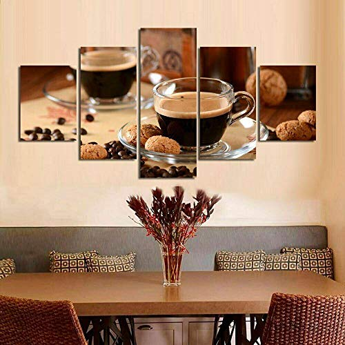 ADKMC Cuadro sobre Lienzo - 5 Piezas - Grano de la Taza de café - Ancho: 150cm, Altura: 80cm - Listo para Colgar - en un Marco