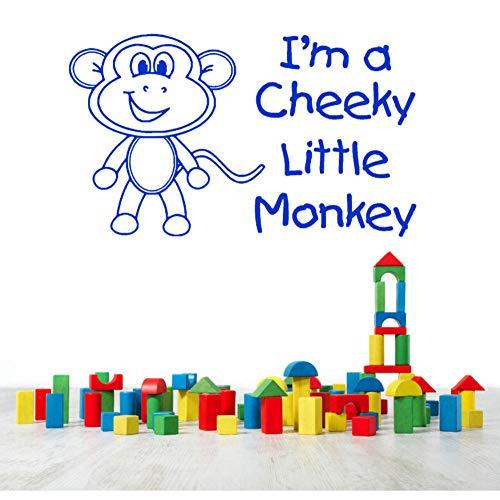 Leuke kleine aap Vinyl muurstickers citaat Ik ben een brutale kleine aap DIY muur Sticker voor kinderen speelkamer Verwijderbare Decal 63x30cm