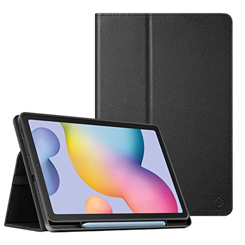 FINTIE Custodia per Samsung Galaxy Tab S6 Lite 10.4'' SM-P610/ P615 2020 con Built-in S Pen Holder, Soft Cover Posteriore in Morbido TPU Slim Fit Folio Case con Auto Svegliati/Sonno, Nero