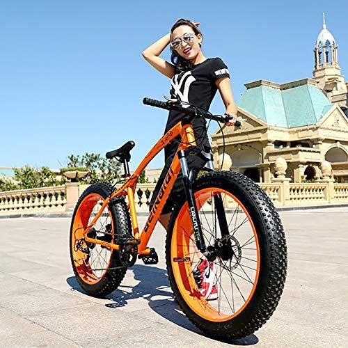 AURALLL Fat Tire Montagne Vélo Portable Étudiant VTT Suspension Avant VTT avec 7 Vitesses à Double Freins à Disque 26 Pouces