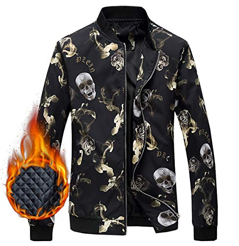 EMAOR Mens Men's Jacket, Skull Pattern Winter Outdoor Quilted Cotton Padded Bomber Jacket Windbreaker Coat Outerwear for Men, 5#Padded, US Small/34 = Tag M