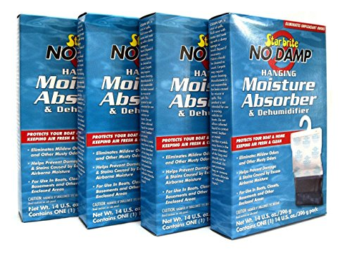 4 Pack No Damp Hanging Moisture Absorber & Dehumidifier Star Brite 85470 RV Boat
