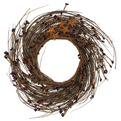 CVHOMEDECO. Primitives Rustic Pip Berries and Twig with Rusty Barn Stars Wreath, 12-Inch, Burgundy