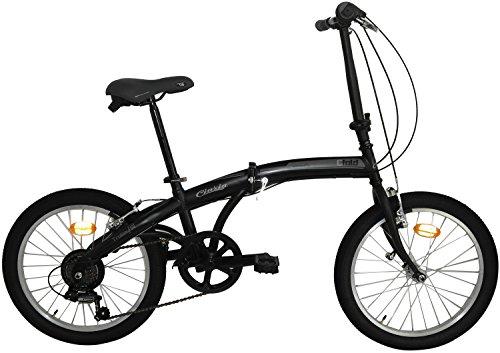 """Cicli Cinzia Bicicletta 20"""" Citybike City Fold 6/V Revo Shift V-Brake all Nero Op./Grigio, Unisex – Adulto"""