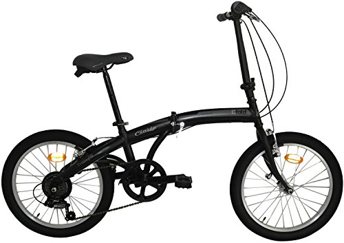 Cicli Cinzia Bicicletta 20' Citybike City Fold 6/V Revo Shift V-Brake all Nero Op./Grigio, Unisex – Adulto