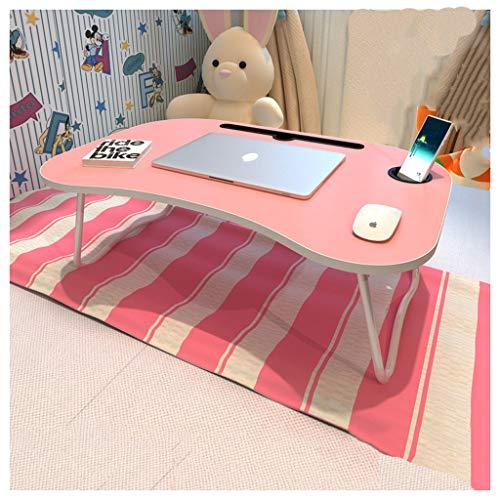 Table Pliante Lit Pliant lit d'ordinateur Portable Bureau-Home College dortoir étudiant (Color : Pink)