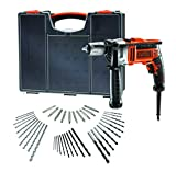 BLACK+DECKER KR806OA-QS - Taladro percutor 850W con 40 accesorios y organizador