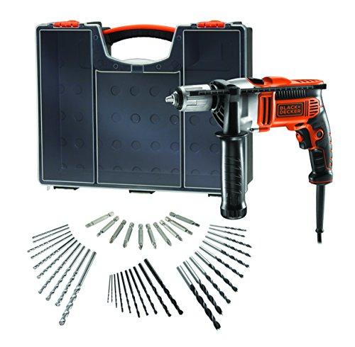 BLACK+DECKER KR806OA-QS klopboormachine 850 W met extra accessoires, 850 W, 230 V, oranje, zwart