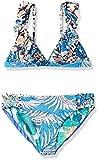 Maaji Girls' Little Fixed Triangle with Ruffle Straps Bikini Swimsuit Set, Oliveira Frills Blue Palm, 2