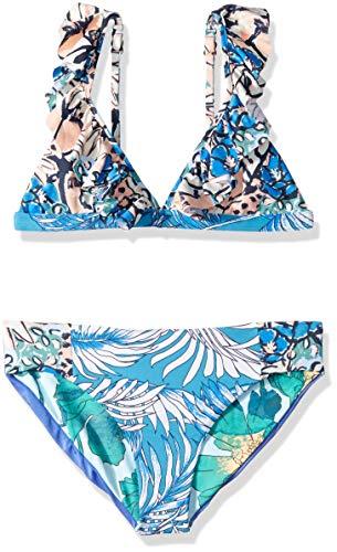 Maaji Girls' Little Fixed Triangle with Ruffle Straps Bikini Swimsuit Set, Oliveira Frills Blue Palm, 6