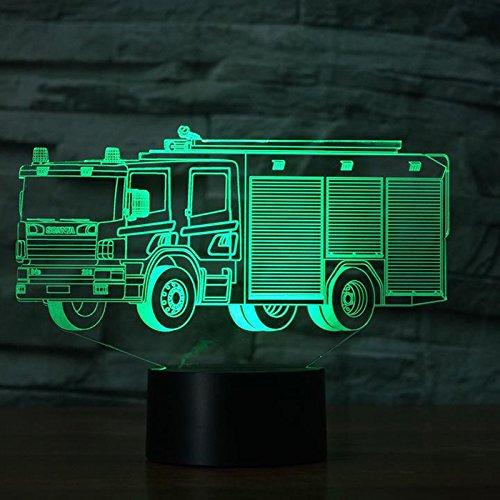 DFDLNL 3D Led 7 Color Lámpara de Escritorio Creativo Visual Fire Engine Accesorio de iluminación USB Fire Truck Car Decoración Sleep NightLight Kid Gift