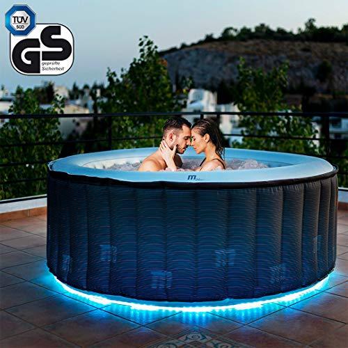 Miweba MSpa aufblasbarer Whirlpool Starry D-ST04 Outdoor – inkl. LED – für 4 Personen - 118 Düsen - 180 x 70 cm - Tüv GS geprüft - 700 Liter - Pool aufblasbar (Delight Starry 4 Personen)