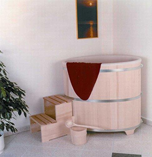 Achleitner Sauna Tauchbecken aus Fichtenholz mit Kunststoffeinsatz und Kunststoffdeckel