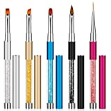 Pinceles para Uñas de Gel Profesionales Nail Art Cepillo Plumas de Pincel de Uñas con Rhinestone para Decoración de Uñas Diseño 5 Piezas