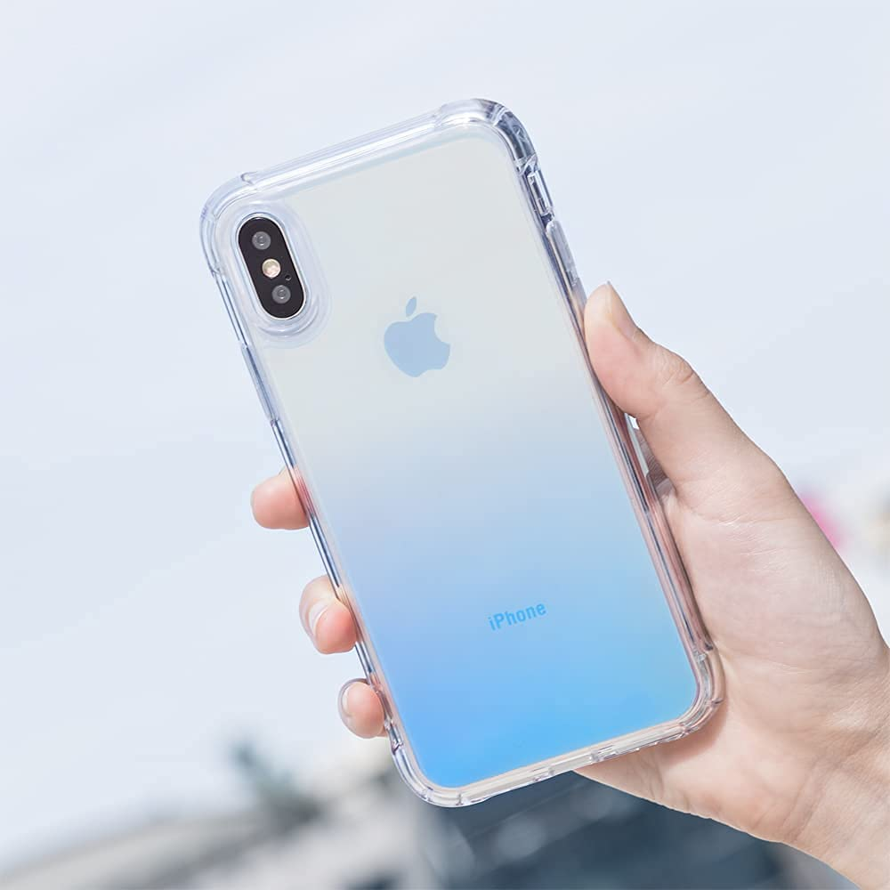 iMall iPhone Xs Case, Clear Edge Aurora Colorful Back Slim Design Soft PC TPU Shockproof Bumper Protective Cover Case for iPhone Xs (Blue)
