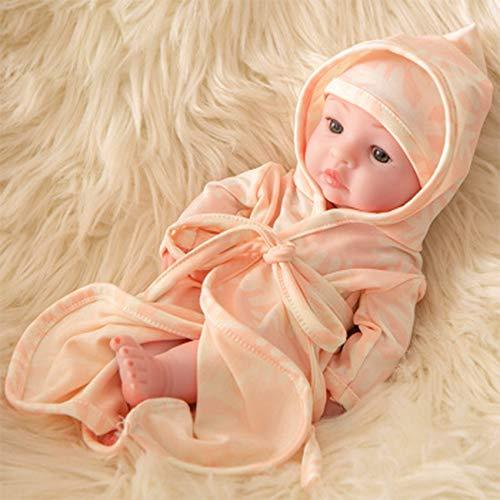 FR&RF 25Cm Reborn Bathe Doll 10.6 Pulgadas de Cuerpo Completo Silicona Simulación Baby Dolls Juguetes para bebés recién Nacidos para niñas Playmate Niño Cumpleaños, 17,Open Eye Doll