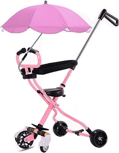 ZLMI Trolley pour Enfants, Porte-bébé léger à Pliage Tricycle à Cinq Roues pour bébé avec artefact