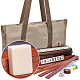 Yellow Mountain Imports American Mahjong Set, Mojave (Ivory) with Brown Soft Case - Four All-in-One Racks with Pushers, Wind Indicator, Dice, & Wright Patterson Counting Coins