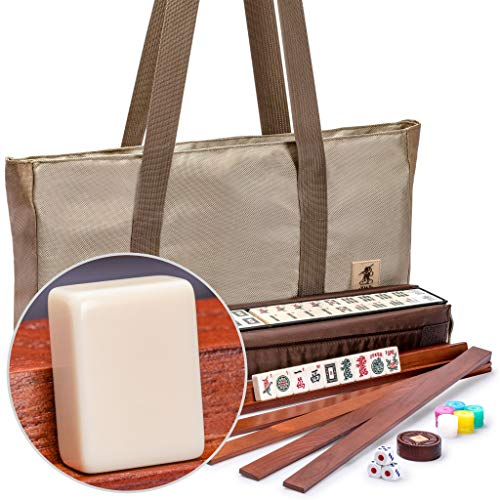 Yellow Mountain Imports American Mahjong Set - Mojave (Ivory) - with Brown Soft Case, All-in-One Racks with Pushers,...