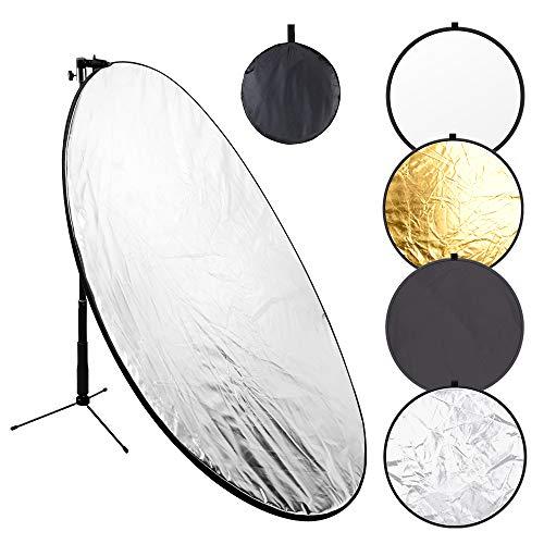 110-Zentimeter-Lichtreflektor 5-in-1-Kit für zusammenklappbare Fotografie-Reflektoren mit Metallklemme und Lichtstativ für Studiobeleuchtung Außenaufnahmen (Silber Gold Weiß Schwarz Durchscheinend)
