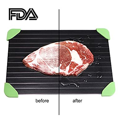Creand Defrosting Tray With Green Silicone Border Thaws Frozen Food Faster - The Quicker and Safest Way to Defrost Meat Without Electricity,Hot Water or Any Other Tool - As Seen on TV