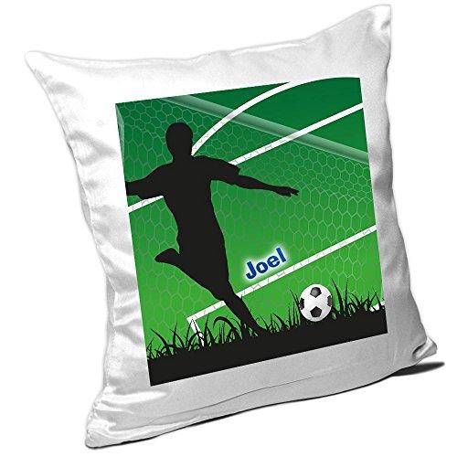 Kissen mit Namen Joel und schönem Fußballer-Motiv für Jungs - Namenskissen personalisiert - Kuschelkissen - Schmusekissen