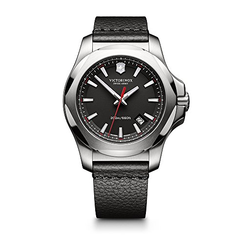 Victorinox Men's I.N.O.X. Stainless Steel Swiss-Quartz Watch with Leather Calfskin Strap, Black, 20 (Model: 241737.1)