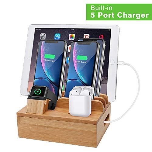 iCozzier Bambú 5-Port USB Estación de acoplamiento de carga Soporte para múltiples dispositivos para iWatch,teléfonos, tabletas