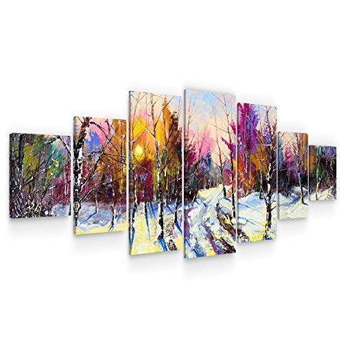Startonight Grande Cuadro Moderno en Lienzo - Paisaje de Invierno, Naturaleza Colorida - Pintura Abstracta para Salon XXL Decoración 7 Piezas 100 x 240 CM