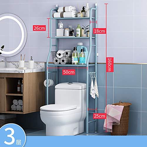 PAGHY 3-lagiges Ablagegestell für Waschmaschinen, Metall, platzsparend, lagerstark, 160 x 50 x 25 cm, Legierung, blau, Größe