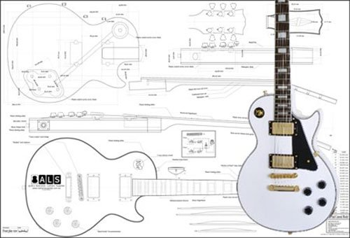 Cheap Plan of Gibson Les Paul Custom Electric Guitar - Full Scale Print Black Friday & Cyber Monday 2019