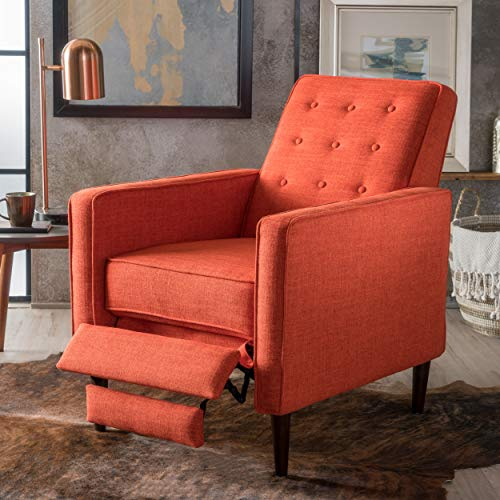 Macedonia Mid Century Modern Tufted Back Fabric Recliner (Muted...