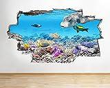 Adhesivo de pared para acuario, pecera, agua, sala de estar, calcomanía, póster, vinilo artístico 3D A193