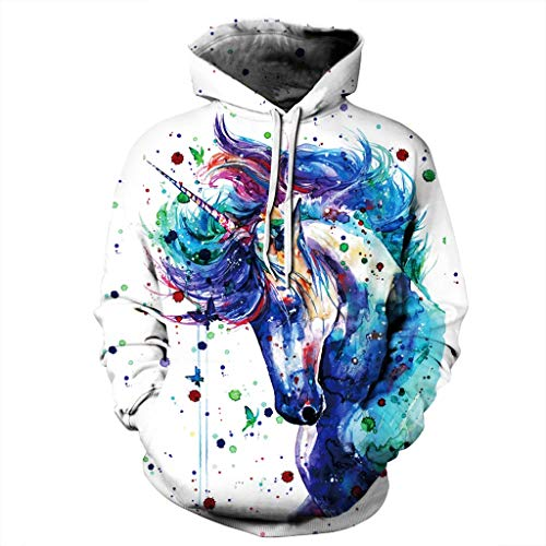 Boys Girls Personality 3D Graphic Printed Hoodies Unisex Cool Long Sleeves Pullover Hooded Sweatshirt 3D Digital Print Art Painted Unicorn Doodle Pattern Fashion Personality Outwear Big Pockets