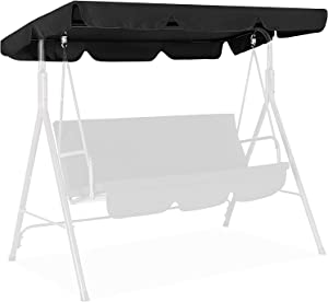 Iptienda Patio Canopy Swings Cover, 2-Seater Heavy Duty Canopy Replacement Cover Waterproof Anti-UV Sun Shade for Part Bench Garden Porch Swing Furniture Cover Black