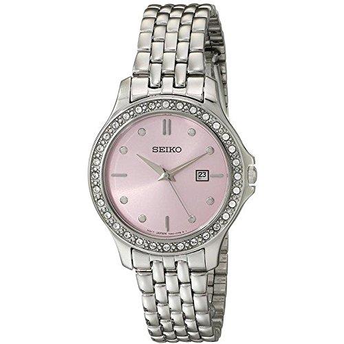Seiko rosa madre de perla Dial Swarovski Cristal Acero Inoxidable Reloj de mujer SXDF89