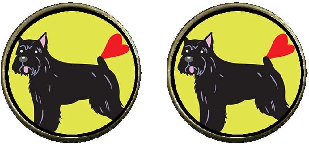 GiftJewelryShop Bronze Retro Style Bouvier Dog Photo Clip On Earrings 14mm Diameter