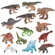 STOTOY 12 Pieces Mini Toy Dinosaur Set - Educational Dinosaur Figures Toys,Realistic Toy Set for Dinosaur Lovers,Kids and Toddler Education Including Stegosaurus,Tyrannosaurus and More