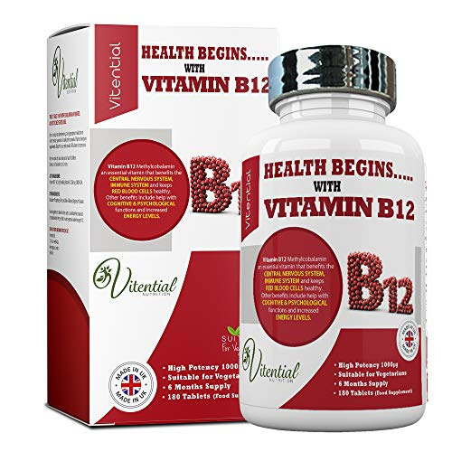 Vitamin B12 Tablets High Stength 1000mcg - 6 Month's Supply of Vegan Methylcobalamin - Helps to Promote a Healthy Nervous and Immune System - by Vitential Nutrition
