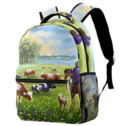 Rebaño De Vacas En Un Prado Solar De Verano Backpack Mochila De Viaje De Ocio Juvenil Mochila Escolar para Niños Y Niñas