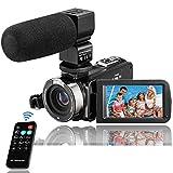 Kenuo - Videocámara FHD 1080P 24 MP pantalla LCD táctil de 3 pulgadas, visión nocturna infrarroja, zoom digital 16X, grabadora con micrófono externo y tarjeta SD de 32 GB, 2 pilas