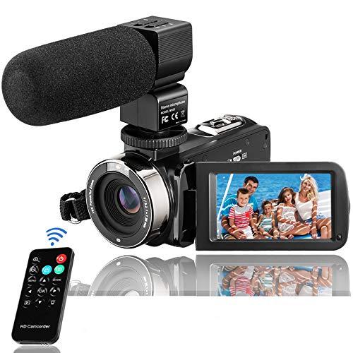 Camcorder, Kenuo VideoKamera FHD 1080P 24MP 3''LCD-Touchscreen IR Nachtsicht Digitalkamera 16X-Digitalzoom Vlogging Kamera Recorder mit externem Mikrofon Fernbedienung und 32GB SD Karte, 2 Batterien