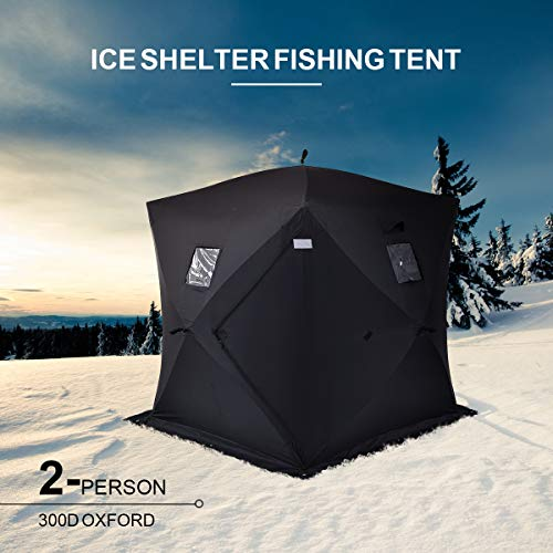 COSTWAY Pop Up Tent with Carry Bag and Detachable Windows, Frost Resistant Waterproof Winter Ice Fishing Dome House, Portable Outdoor Camping Hiking Shelter Tents (2-Person Black)