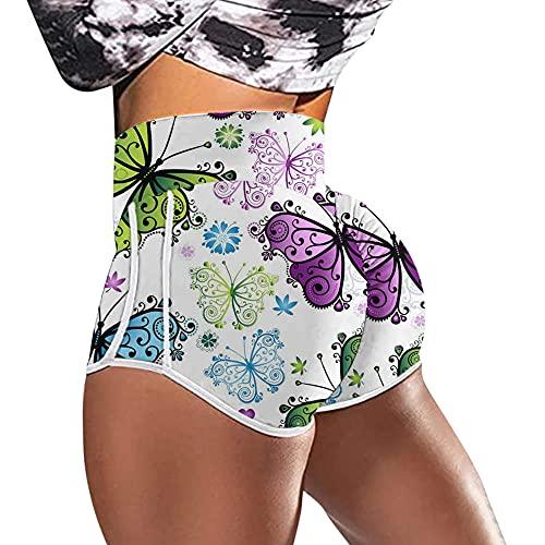 Leggings Push Up Mujer Deporte,2021 Pantalones calientes transfronterizos europeos y estadounidenses Cintura alta de cintura Alta mariposa Impresión Corriente Culturismo Deporte Pantalones cortos Pan